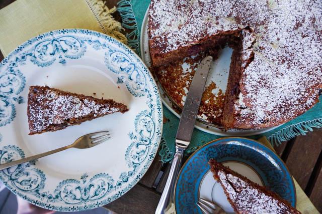 Rezept schoko nuss kuchen mit kirschen